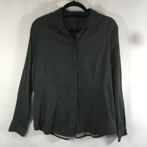 Apt 9 Black Polka Dot Button up top fitted XL